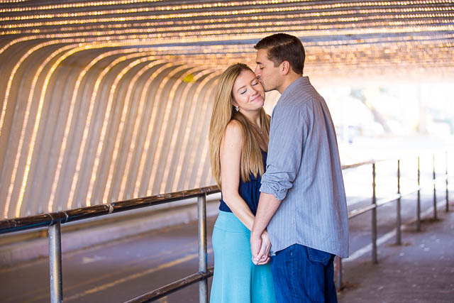Couples engagement photos at UCSB Pardall Tunnel
