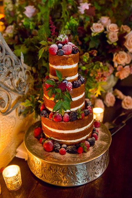 Naked wedding cake at San Ysidro Ranch