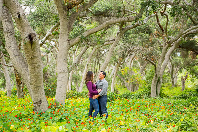 Couple embraces at Ennisbrook trail in Montecito, California.