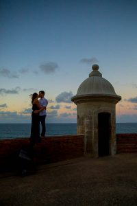 Sunset silhouette engagement photos at Castillo de San Cristobal, San Juan, Puerto Rico.