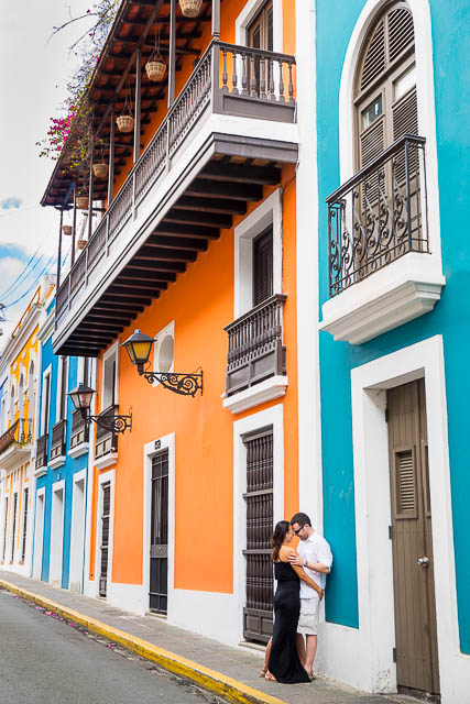 Couple having fun during their Old San Juan, Puerto Rico, engagement photos.