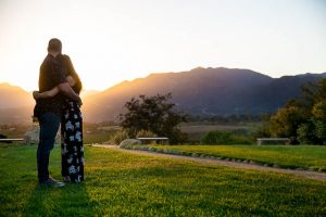 Couple watching the sunset at Meditation Mount in Ojai.