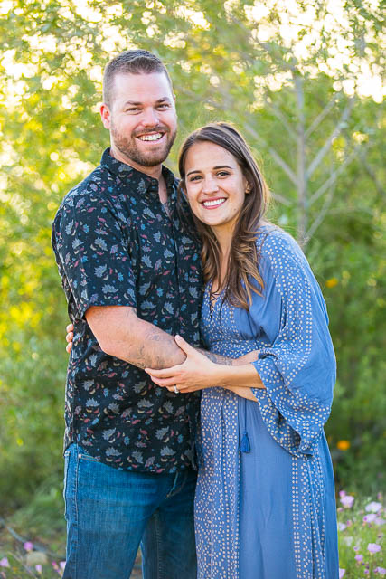 The couple holding each other during the Meditation Mount, Ojai engagement photoshoot.