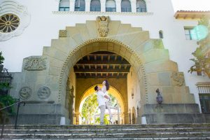 Creative bride and groom photos taken at the Santa Barbara Courthouse.