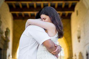 Creative bride and groom photos taken at the Santa Barbara Courthouse.