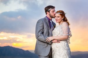 Bride and groom sunset portraits in Boulder, Colorado.