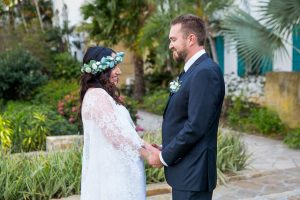 Couple during their Santa Barbara Courthouse elopement wedding ceremony.