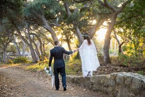 Sunset photos with the newlywed bride and groom during their Santa Barbara, CA elopement.