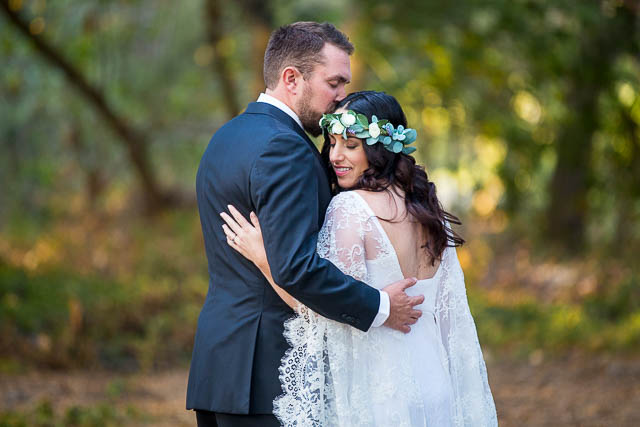 Newlyweds walking around at Ennisbrook trails during their Santa Barbara elopement.