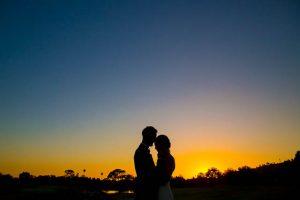 Newlyweds sunset photos at Glen Annie Golf Club in Goleta, CA.