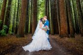 Bride and groom at Rotorua Redwoods Forest wedding.