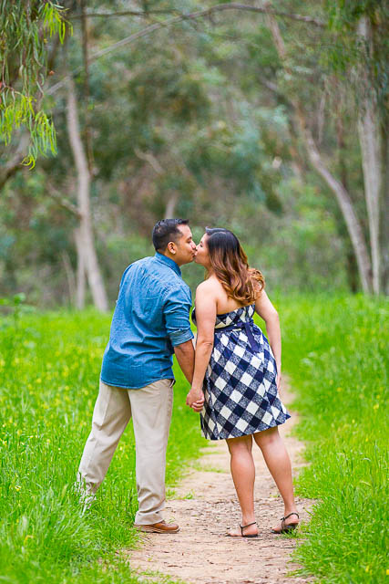 Couple kissing during an engagement photoshoot.