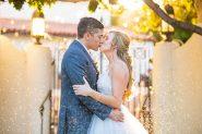 Bride and groom kissing at The Unitarian Society wedding.