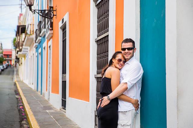 Couple having fun during their Old San Juan, Puerto Rico, engagement photos.