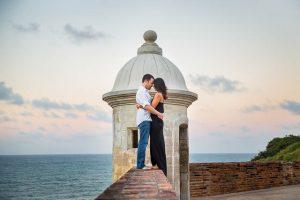 Couple kissing at San Cristobal Fort in Old San Juan, Puerto Rico.