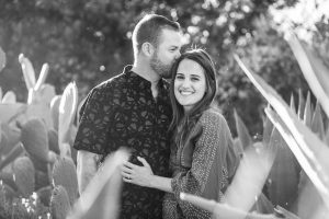 Bride and groom kissing at their Meditation Mount, Ojai engagement photo shoot.