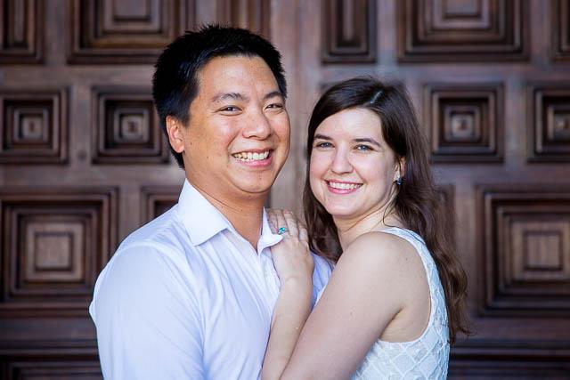 Bride and groom smiling at the Santa Barbara Courthouse.