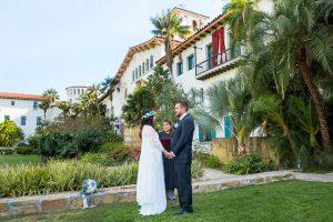 Couple eloping at the Santa Barbara Courthouse.