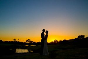 Newlyweds sunset photos at Glen Annie Golf Club in Goleta, CA.