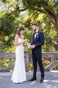 Bride and groom's first look at the Santa Barbara Glen Annie Golf Club.