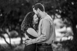 Bride and groom laughing at Alice Keck Park Memorial Gardens in Santa Barbara, California.