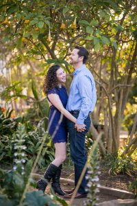 Couple poses for Alice Keck Park engagement photos in Santa Barbrara, CA.