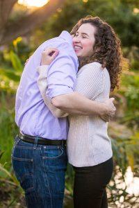 Couple poses for Alice Keck Park Memorial Gardens engagement photos in Santa Barbrara, CA.