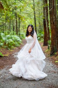 The bride at the Rotorua Redwoods Forest.