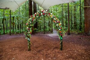 Wedding ceremony set up at Rotorua's Redwood Forest Under the Sails wedding venue.