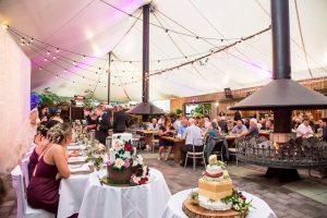 Wedding reception layout at the Skyline Rotorua wedding venue.