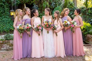 The bride and her bridesmaids during The Ranch House Ojai wedding.