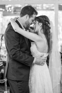 Bride and groom at their The Ranch House Ojai wedding reception.
