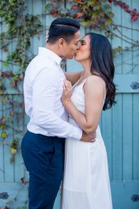 Bride and groom posing during their Santa Barbara engagement photoshoot.