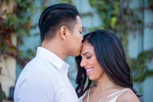 Bride and groom posing during their Santa Barbara engagement photoshoot.