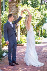 Couple's first look at their Belmond El Encanto wedding.