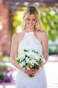 Bride with The Twisted Twig florals wedding bouquet..