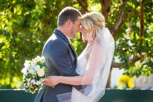 Newlyweds portrait photos at the Belmond El Encanto Hotel after their Oak Tree Suite wedding ceremony.