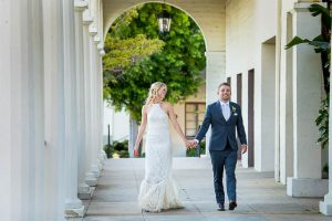 Sunset portraits of the couple at their Belmond El Encanto wedding.