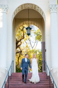 Sunset portraits of the newlyweds after their Oak Tree Suite wedding ceremony at the Belmond El Encanto Hotel.