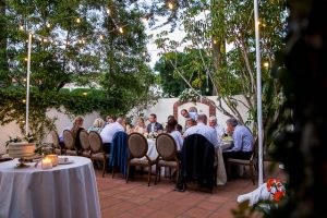 Wedding reception at the Oak Tree Suite at the Belmond El Encanto Hotel in Santa Barbara, California.
