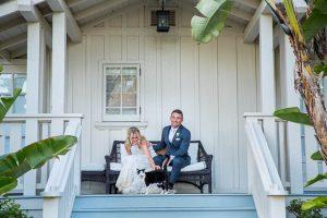 Sunset photos of the bride and groom at their Belmond El Encanto wedding in Santa Barbara, California.