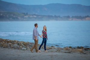 Beautiful sunset beach engagement photos taken in Santa Barbara, California.