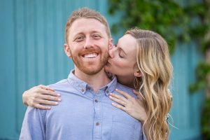 Engagement photographs taken at a cool spot in Santa Barbra, California.