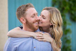 Engagement photographs taken at a cool spot in Santa Barbra, California.