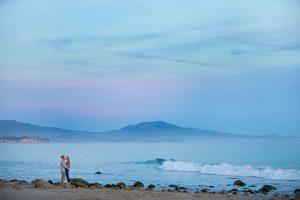 Beautiful sunset beach engagement photos taken in Santa Barbara, California.