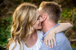 Close-up photographs of a couple during their Santa Barbara engagement photographs.