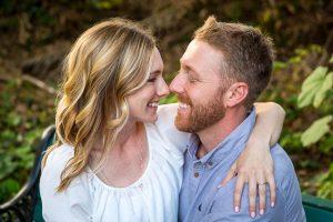 Close-up photographs of a couple during their Santa Barbara engagement photographs.