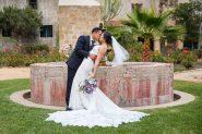 Newlyweds after their Mission Santa Barbara church wedding.