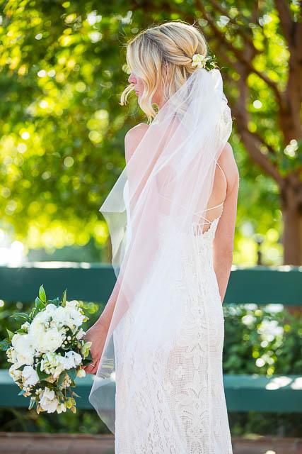 Boho bride wearing a veil at her Belmond El Encanto wedding.