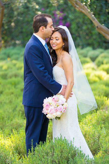 Newlyweds at San Ysidro Ranch lavender field.